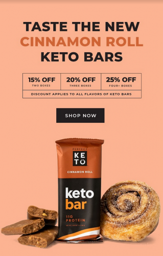 Cinnamon Roll Keto Bar Launch Announcement